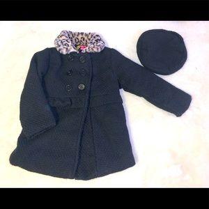 Euc winter girls black dress coat and hat